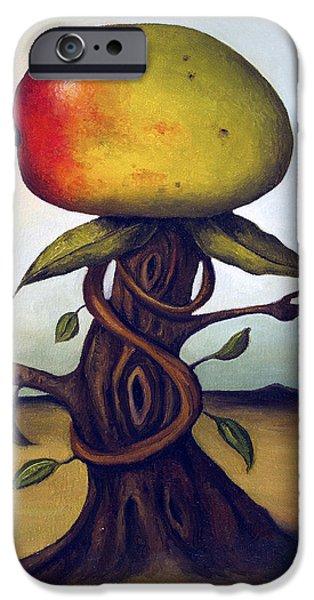 Mango Paintings iPhone Cases - Mango Tree AKA Senor Mango iPhone Case by Leah Saulnier The Painting Maniac