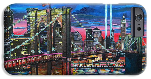 Twin Towers iPhone Cases - Manhattan Kinda Night iPhone Case by Patti Schermerhorn