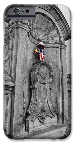 American Independance iPhone Cases - Manneken Pis Fountain iPhone Case by Nomad Art And  Design