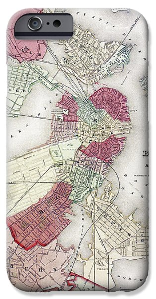 Recently Sold -  - Charles River iPhone Cases - Map: Boston, 1865 iPhone Case by Granger