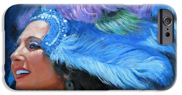 Mardi Gras Paintings iPhone Cases - Mardi Gras Girl iPhone Case by Sue Halstenberg