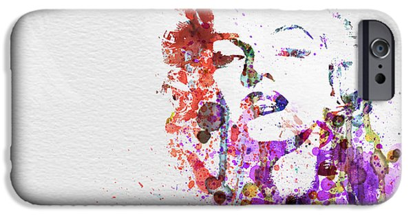 Watercolors Paintings iPhone Cases - Marilyn Monroe iPhone Case by Naxart Studio