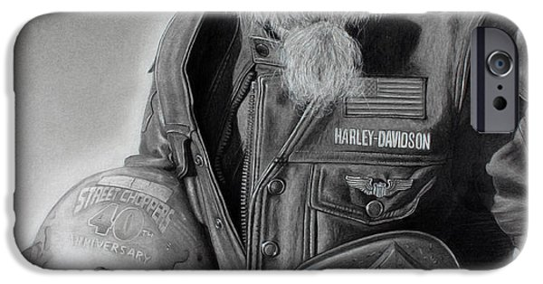 Black Portrait Drawings iPhone Cases - Mark iPhone Case by Tim Dangaran