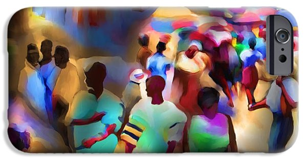 African-american Digital Art iPhone Cases - Marketplace At Night Cap Haitien iPhone Case by Bob Salo