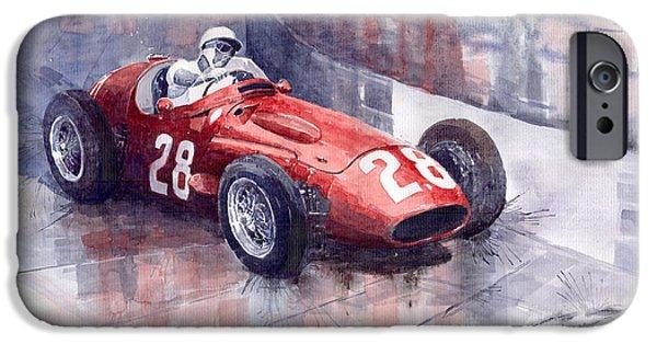 Racing Sport Cars iPhone Cases - Maserati 250 F GP Monaco 1956 Stirling Moss iPhone Case by Yuriy  Shevchuk