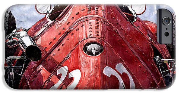 Racing Paintings iPhone Cases - Maserati 250F Alien iPhone Case by Yuriy  Shevchuk