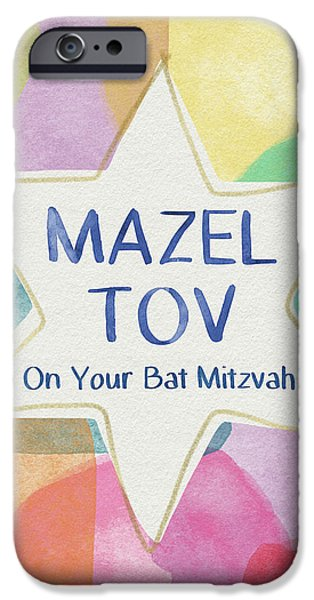 Bat iPhone 6 Case - Mazel Tov On Your Bat Mitzvah- Art By Linda Woods by Linda Woods