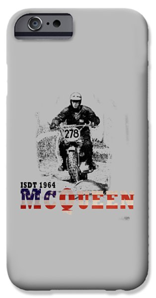 Motor Sport iPhone Cases - McQueen ISDT 1964 iPhone Case by Mark Rogan