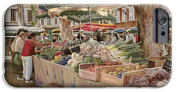 Umbrella Paintings iPhone Cases - Mercato Provenzale iPhone Case by Guido Borelli