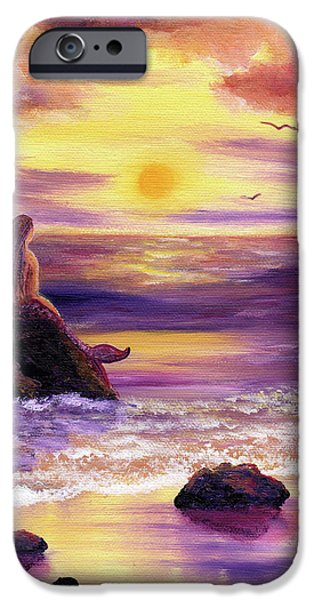 Mythological iPhone Cases - Mermaid in Purple Sunset iPhone Case by Laura Iverson