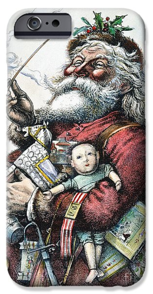 Nast iPhone Cases - Merry Old Santa Claus iPhone Case by Granger