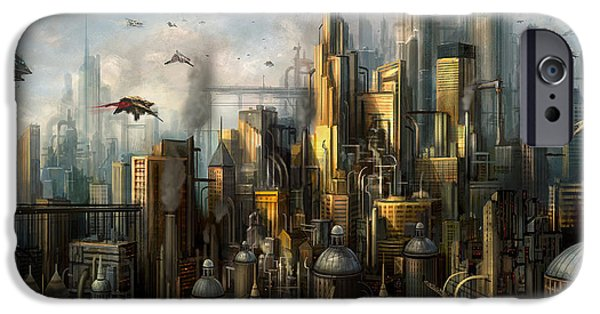 Skyscraper Mixed Media iPhone Cases - Metropolis iPhone Case by Philip Straub