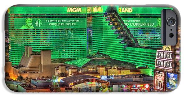 Renaissance Center iPhone Cases - MGM Grand Las Vegas iPhone Case by Nicholas  Grunas