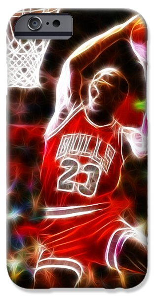 Jam Digital iPhone Cases - Michael Jordan Magical Dunk iPhone Case by Paul Van Scott