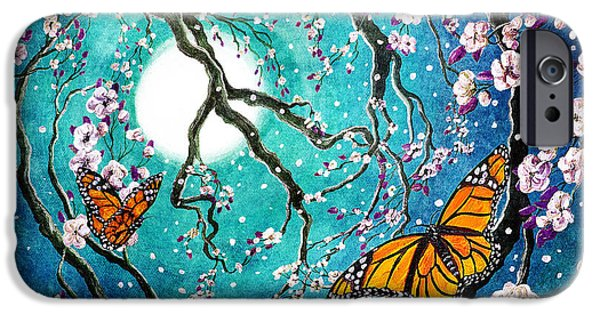 Activist iPhone Cases - Monarch Butterflies in Teal Moonlight iPhone Case by Laura Iverson