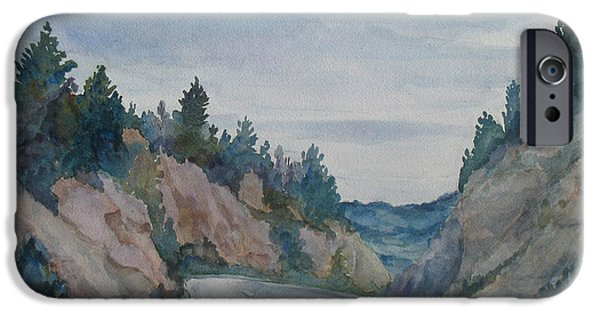 Road Paintings iPhone Cases - Montana Road Trip iPhone Case by Jenny Armitage