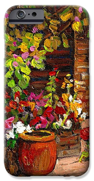 MONTREAL CITYSCENES HOMES AND GARDENS iPhone Case by CAROLE SPANDAU