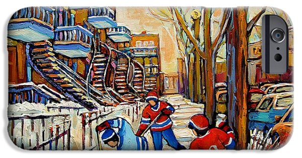 Afterschool Hockey Montreal Paintings iPhone Cases - Montreal Hockey Game With 3 Boys iPhone Case by Carole Spandau