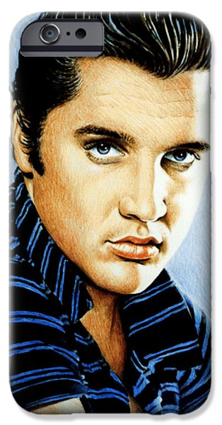 Movie Star Drawings iPhone Cases - Moody Blue iPhone Case by Andrew Read