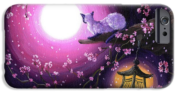 Cherry Blossoms iPhone Cases - Moon Glow Lantern Glow iPhone Case by Laura Iverson