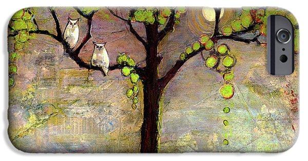 Wildlife iPhone 6 Case - Moon River Tree Owls Art by Blenda Studio