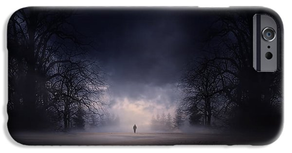 Macabre iPhone Cases - Moonlight Journey iPhone Case by Lourry Legarde