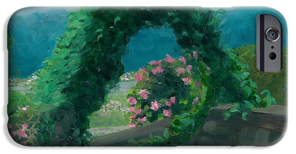 Stonewall Paintings iPhone Cases - Morning at Harkness Park iPhone Case by Paula Emery