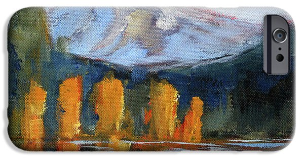 IPhone 6 Case featuring the painting Morning Light Mountain Landscape Painting by Nancy Merkle