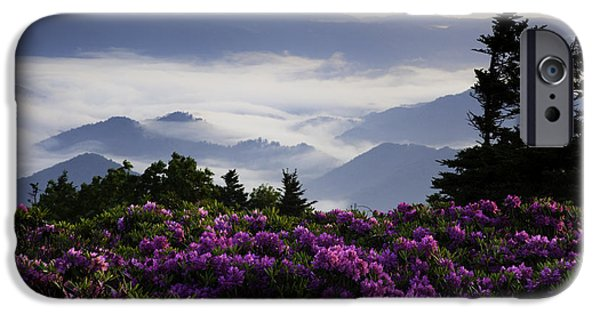 Misty Prints iPhone Cases - Morning on Grassy Ridge Bald iPhone Case by Rob Travis
