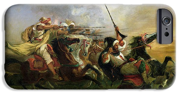 Animals iPhone Cases - Moroccan horsemen in military action iPhone Case by Ferdinand Victor Eugene Delacroix
