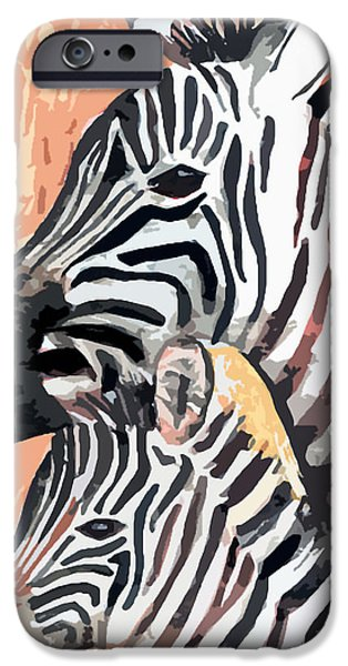 Zebra Digital iPhone Cases - Mother And Baby iPhone Case by Arline Wagner