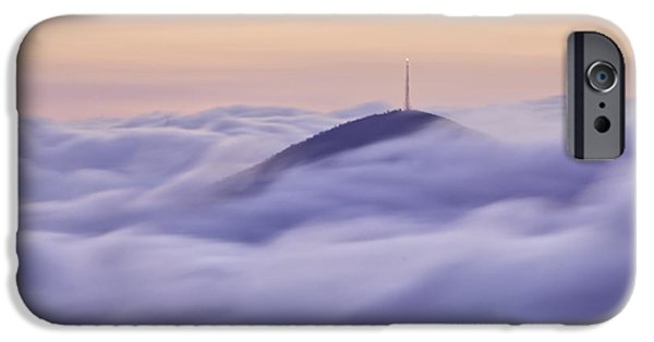 Cloudscape Photographs iPhone Cases - Mount Pisgah in the Clouds iPhone Case by Rob Travis