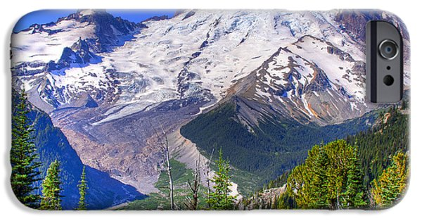 Snowscape iPhone Cases - Mount Rainier III iPhone Case by David Patterson