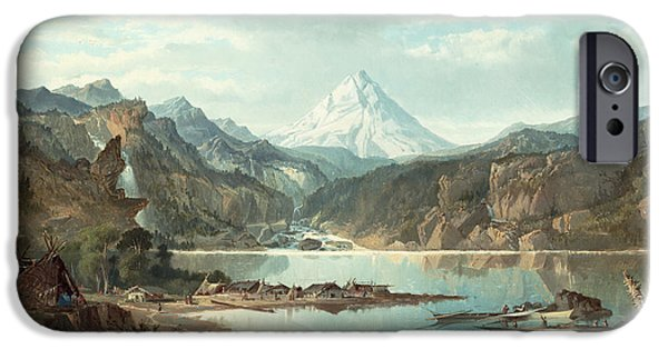 Red Canoe iPhone Cases - Mountain Landscape with Indians iPhone Case by John Mix Stanley