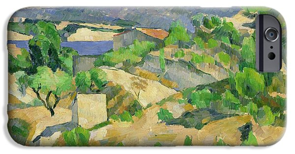 1879 iPhone Cases - Mountains in Provence iPhone Case by Paul Cezanne