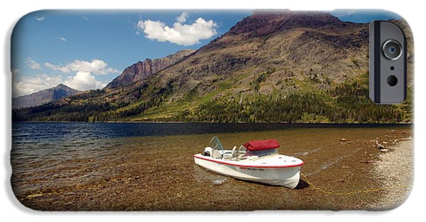 Boat iPhone Cases - Moutain Lake iPhone Case by Sebastian Musial