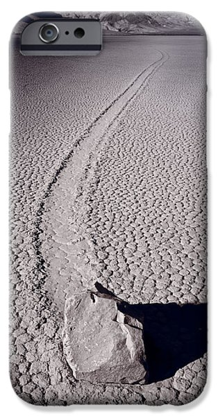 Desert iPhone Cases - Moving Rocks Number 2  Death Valley BW iPhone Case by Steve Gadomski