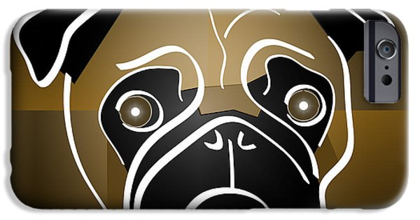 Puppies Digital iPhone Cases - Mug of a Pug iPhone Case by Stephen Younts