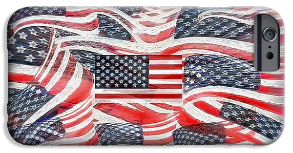 American Flag iPhone Cases - Multi - Flag Abstract  iPhone Case by Steve Ohlsen