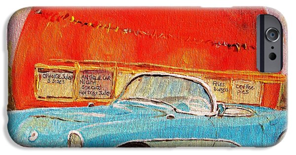Montreal Storefronts Paintings iPhone Cases - My Blue Corvette at the Orange Julep iPhone Case by Carole Spandau