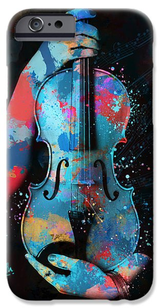 Strings Digital iPhone Cases - My Violin Whispers Music in the Night iPhone Case by Nikki Marie Smith