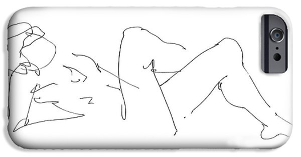 Male Nude Drawing Drawings iPhone Cases - Naked-Male-Drawing-14 iPhone Case by Gordon Punt