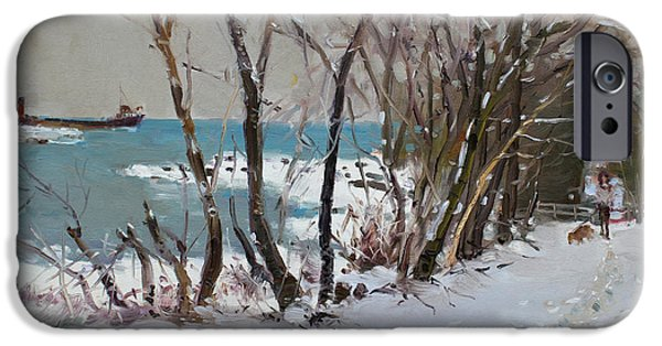 Dogs In Snow. Paintings iPhone Cases - Naked Trees by the Lake Shore iPhone Case by Ylli Haruni