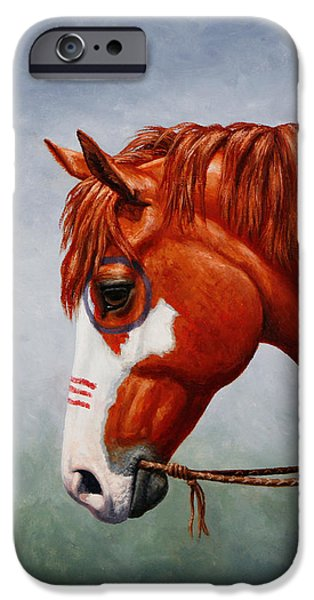 Overo iPhone Cases - Native American War Horse Phone Case iPhone Case by Crista Forest
