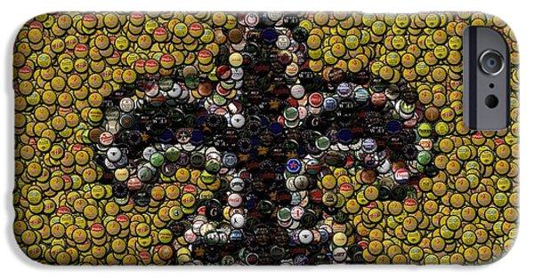 Bottlecaps iPhone Cases - New Orleans Saints  Bottle Cap Mosaic iPhone Case by Paul Van Scott