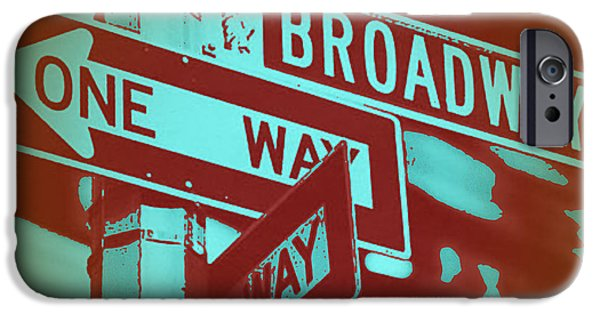 Sign iPhone Cases - New York Broadway Sign iPhone Case by Naxart Studio