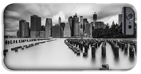 Drama iPhone Cases - New York City in Black and White iPhone Case by Rick Berk