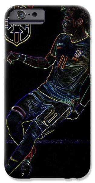 Clash Of Worlds iPhone Cases - Neymar Neon II iPhone Case by Lee Dos Santos