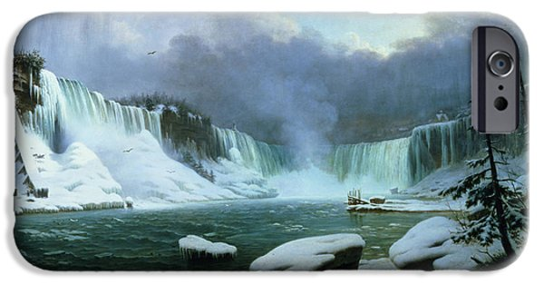 Mountain Paintings iPhone Cases - Niagara Falls iPhone Case by Hippolyte Victor Valentin Sebron