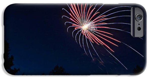 Blue Fireworks iPhone Cases - Night Bloom iPhone Case by Steve Harrington
